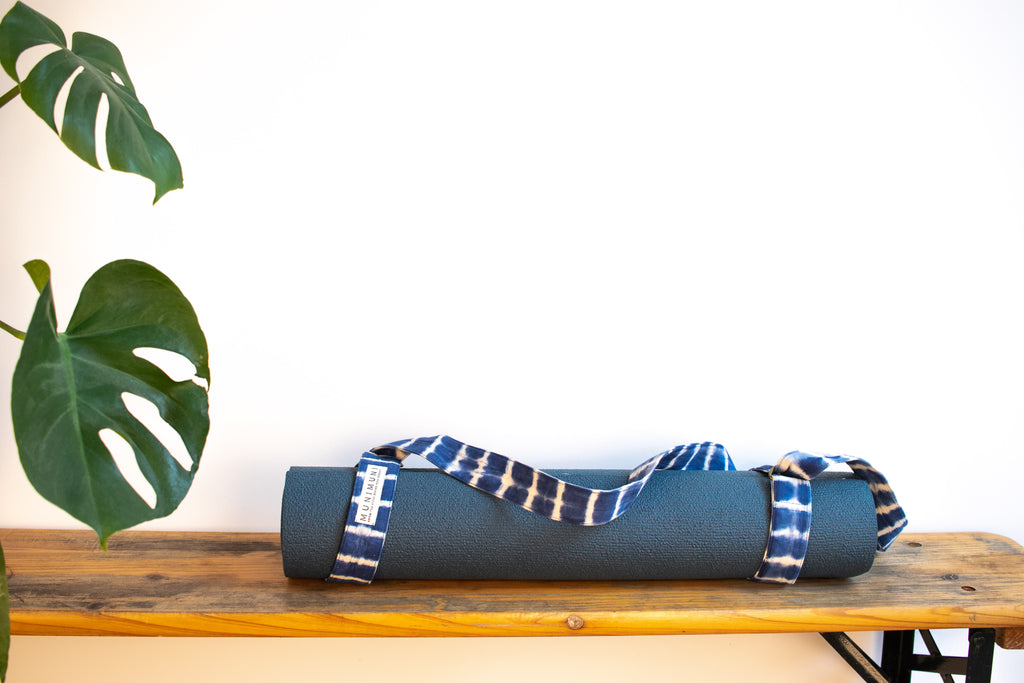 Tie Dye Yoga Carry Strap - Indigo Blue Stripe - MuniMuni