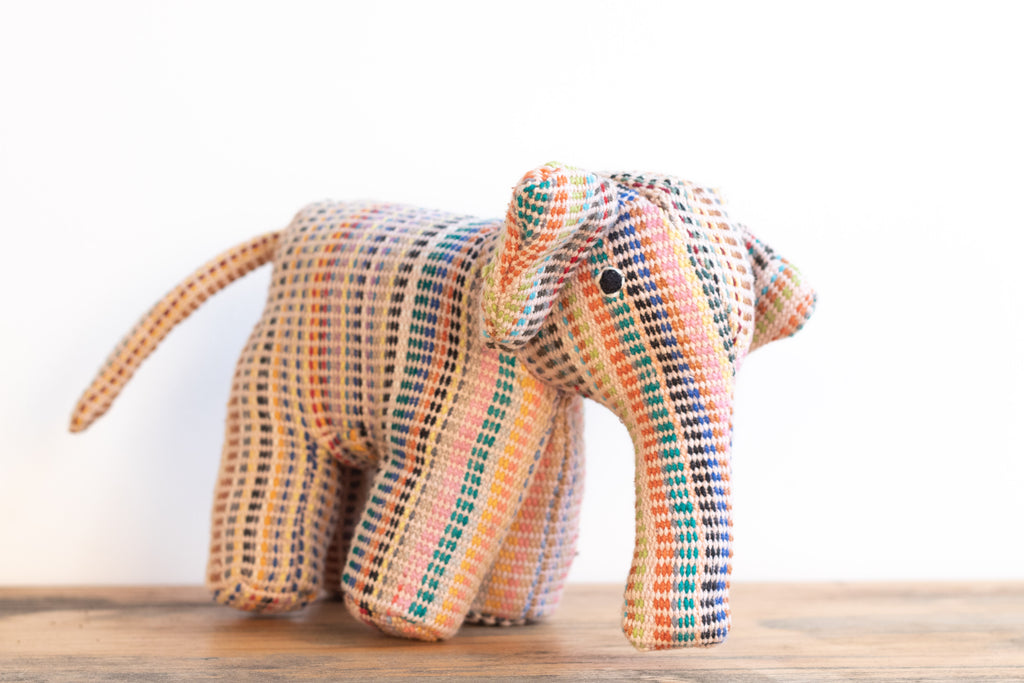 Fair Trade Handwoven Elephant - Recycle Pattern Pink Mix 2 - MuniMuni