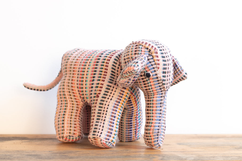 Fair Trade Handwoven Elephant - Recycle Pattern Pink Mix 4 - MuniMuni