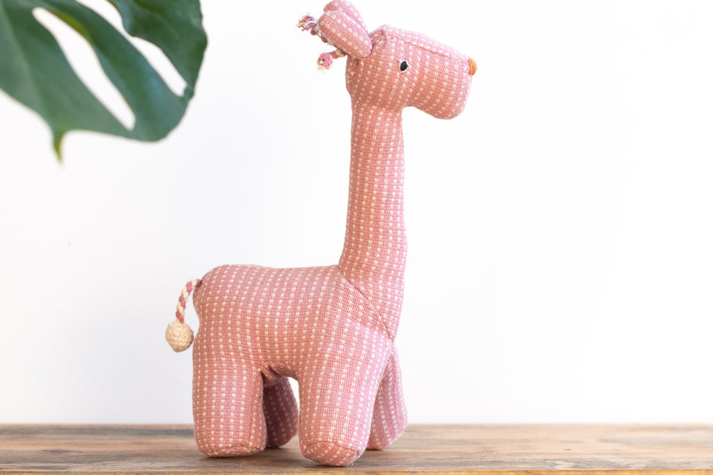 Fair Trade Handwoven Giraffe - Stripe Pattern Pink - MuniMuni