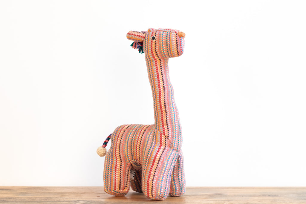 Fair Trade Handwoven Giraffe - Recycle Pattern Pink - MuniMuni