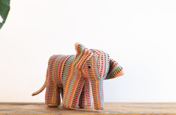 Fair Trade Handwoven Elephant - Recycle Pattern Pink Mix 1 - MuniMuni