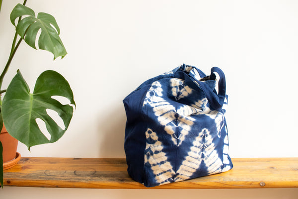 Tie Dye Tote Bag - ZigZag Indigo Blue - MuniMuni