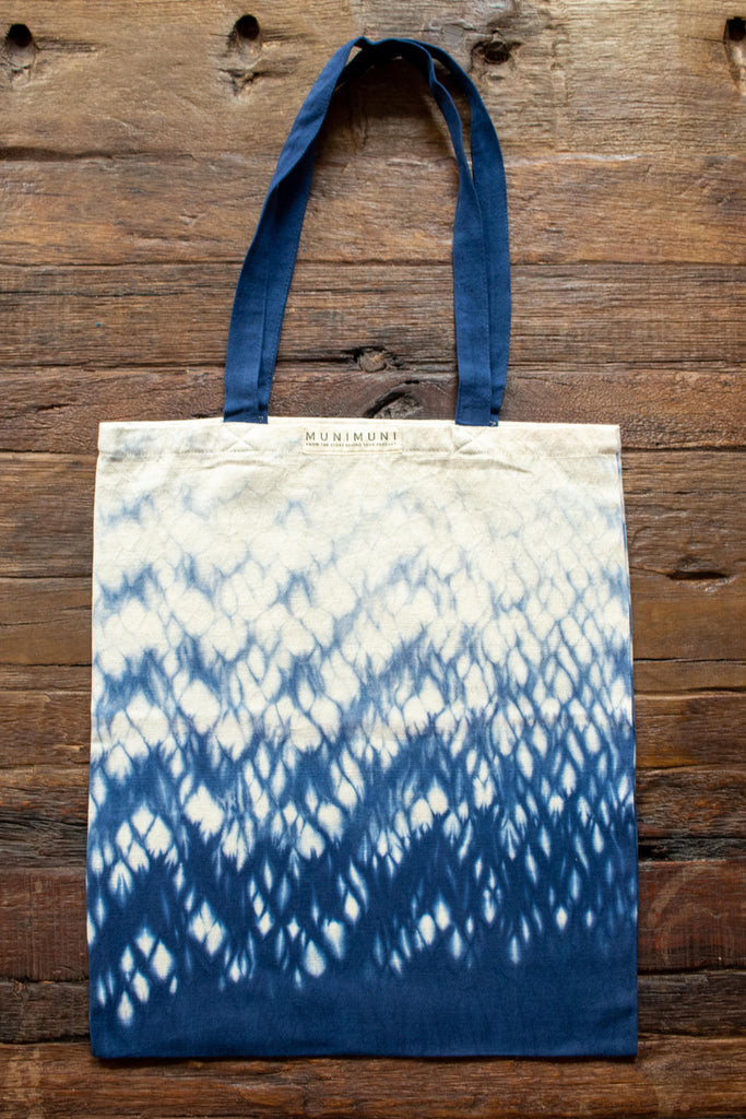 Tie Dye Tote Bag Small - Raindrop Indigo Blue - MuniMuni