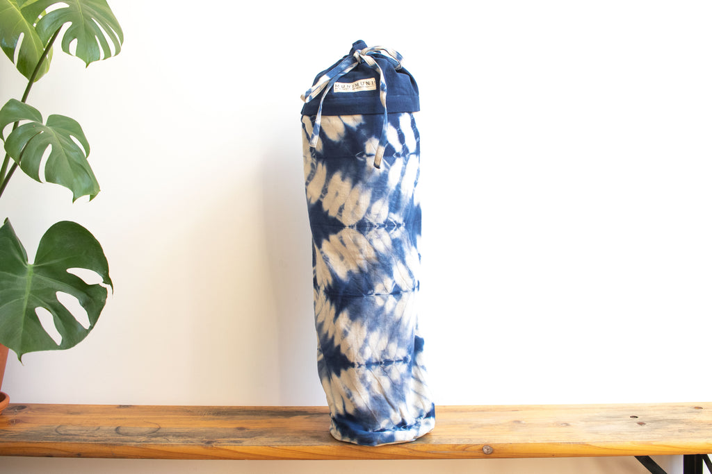 Tie Dye Yoga Mat Bag - ZigZag Indigo Blue - MuniMuni