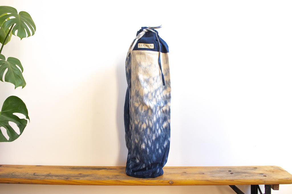 Tie Dye Yoga Mat Bag - Raindrop Indigo Blue - MuniMuni