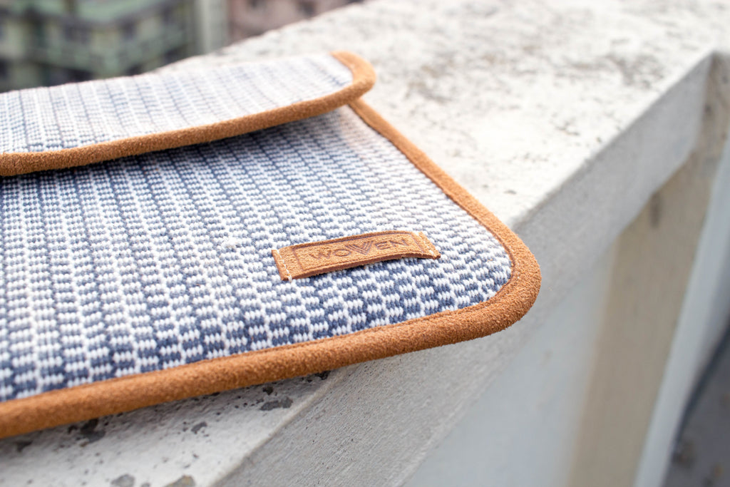 iPad Sleeve - Grey/ Blue/ White Finer Pattern - MuniMuni