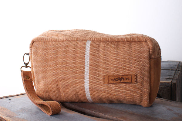 Make-Up Bag - Plain Brown and a Stripe - MuniMuni