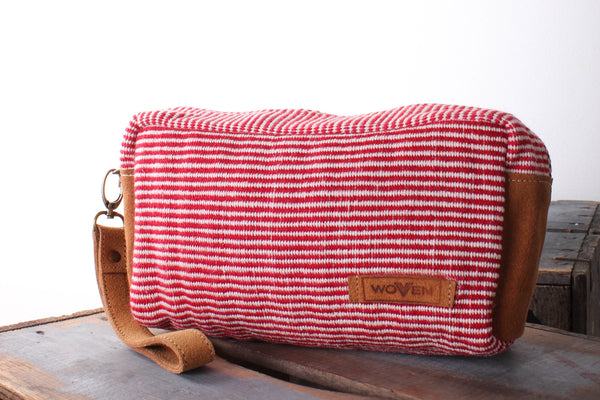 Make-Up Bag - Red/ White Finer Stripe Pattern - MuniMuni