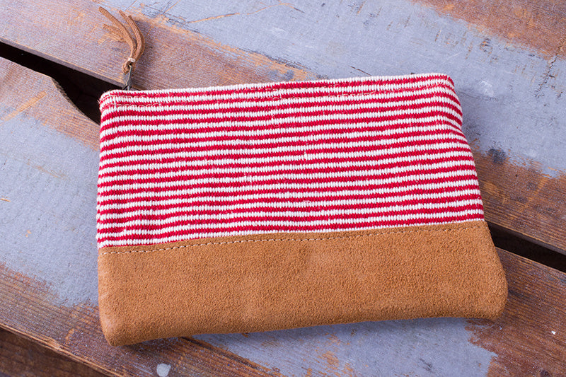 Zip Purse Small -  Red Finer Stripe Pattern - MuniMuni