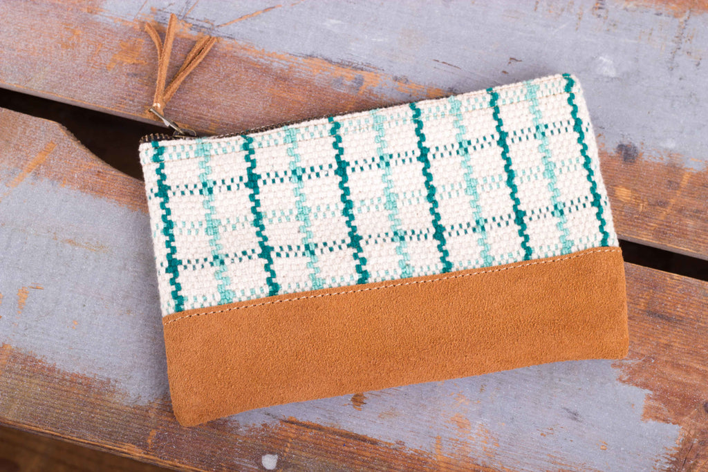 Zip Purse Small -  Turquoise/ White Check Pattern - MuniMuni