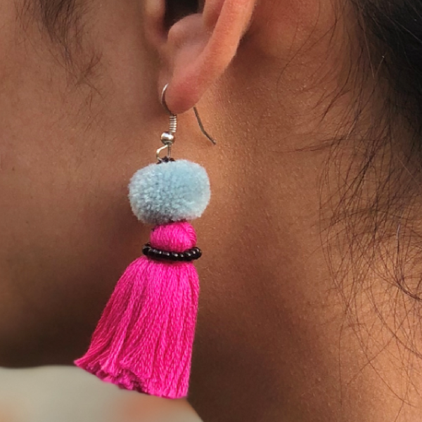 Earring Muskan 1 pompon - Pink Light Blue Black - MuniMuni