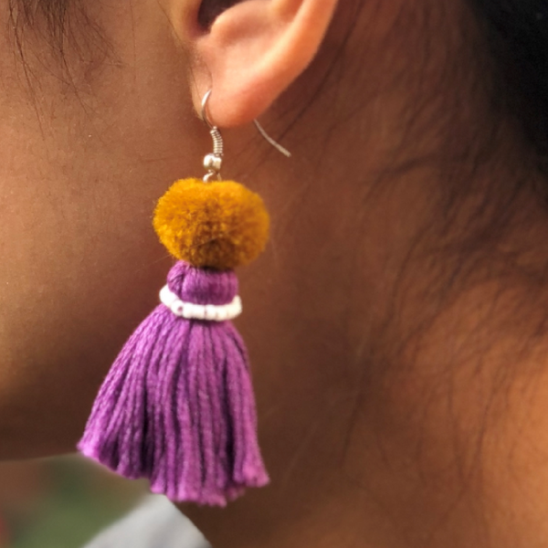 Earring Muskan 1 pompon - Purple Brown White - MuniMuni