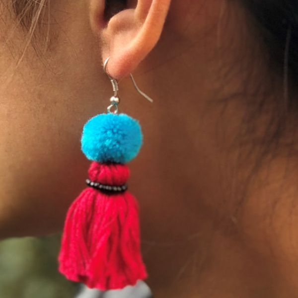 Earring Muskan 1 pompon - Red Blue Black - MuniMuni
