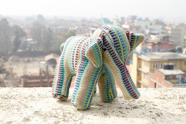 Fair Trade Handwoven Elephant - Recycle Pattern Green - MuniMuni
