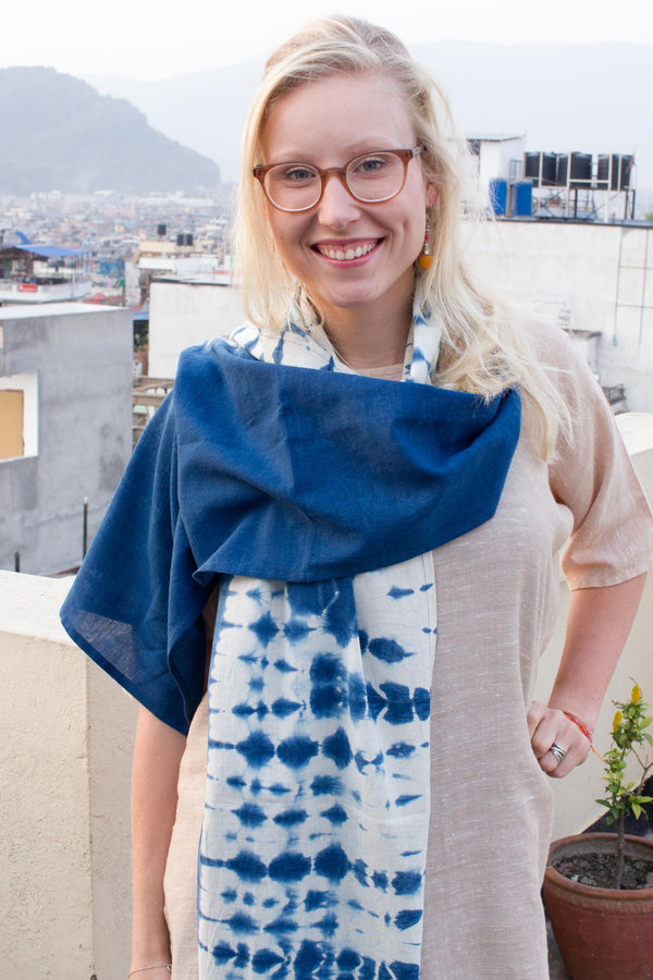MuniMuni Tie Dye Shawl - Half Roll Indigo Blue - MuniMuni