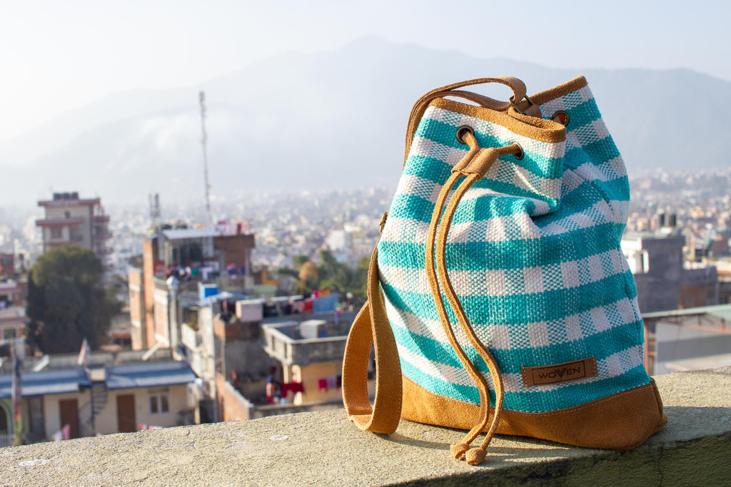 Muzza bag - Turquoise/ White Check Pattern - MuniMuni