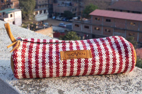 Pencil Case - Red/ White Thicker Stripe - MuniMuni