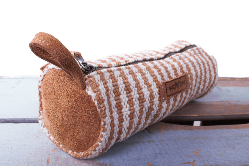 Pencil Case - Light Brown/ White Thicker Stripe - MuniMuni