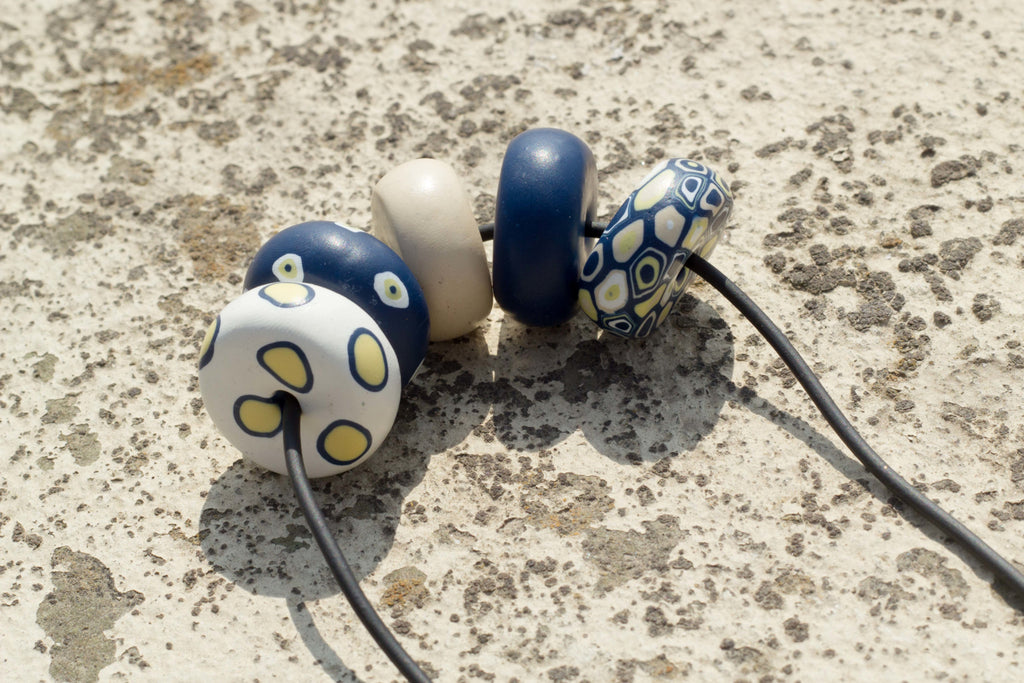 Rondelle - Blue/ Yellow 5 beads - MuniMuni