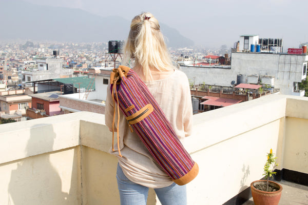 MUNIMUNI Aasha Top Yoga Mat Bag by Woven - Purple Recycle Pattern - MuniMuni