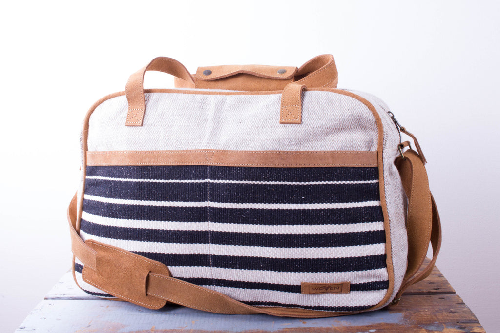 Tour Bag - Black/ White Wider Stripe Pattern - MuniMuni