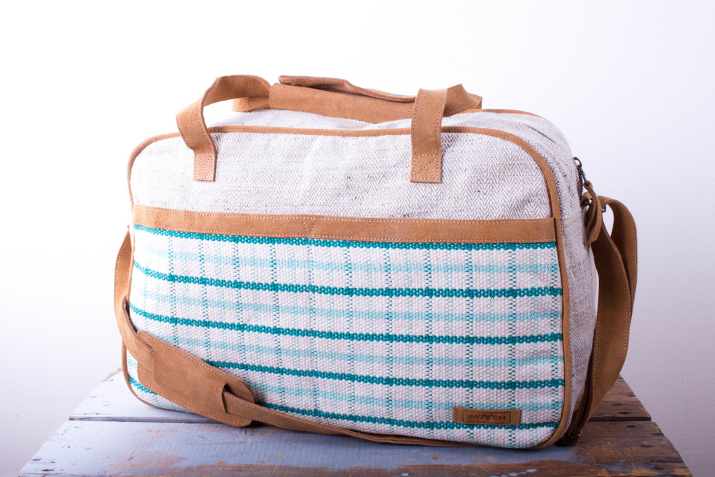 Tour Bag - Turquoise Check Pattern - MuniMuni
