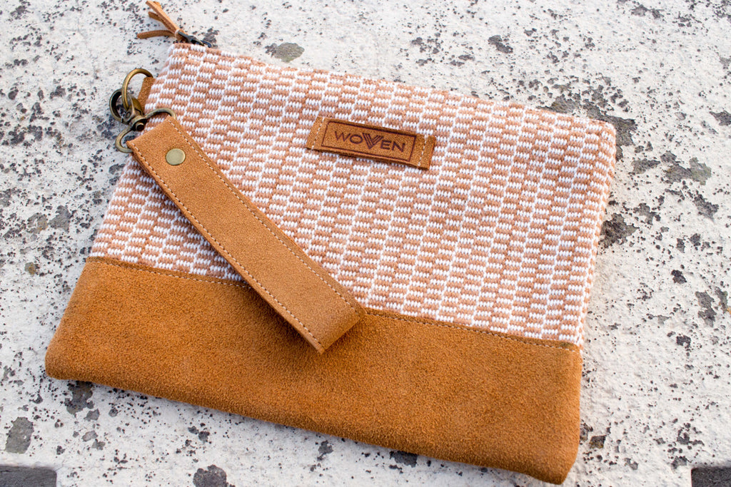 Zip Purse Large -  Light Brown Finer Pattern - MuniMuni