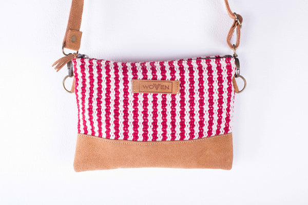 Zip Purse Large with Shoulder Strap - Red/ White Thicker Stripe - MuniMuni