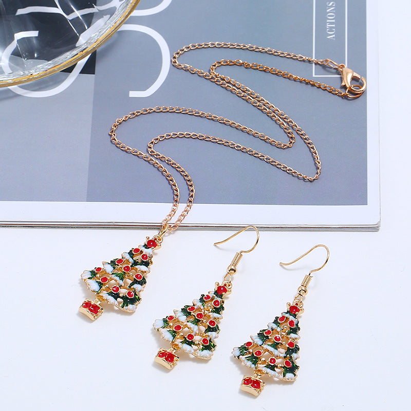 Christmas series christmas earrings necklace - BEAUVAN