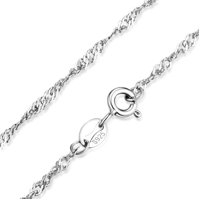 100% Genuine 925 Sterling Silver Necklace Ingot Twisted Trace Belcher Snake Bar Singapore Box Chain Necklace Women - BEAUVAN