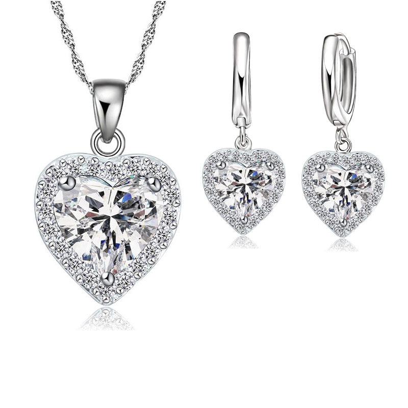 Fine 925 Sterling Jewelry Set For Women Bridal Wedding Heart Austrian Crystal Necklaces - BEAUVAN