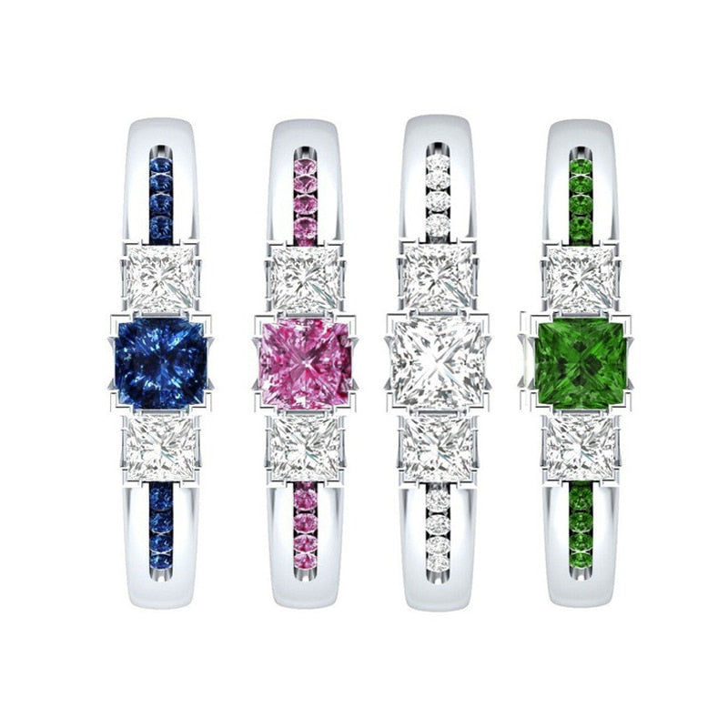 Pink Blue Green Gemstone Finger Rings For Women Solid Wedding Ring - BEAUVAN