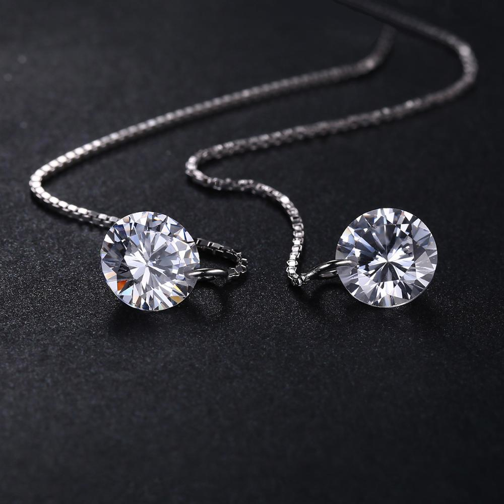 925 Sterling Silver Cubic Zirconia CZ Long Drop Earrings For Women Korean Earrings 2020 Earings Fashion Jewelry - BEAUVAN
