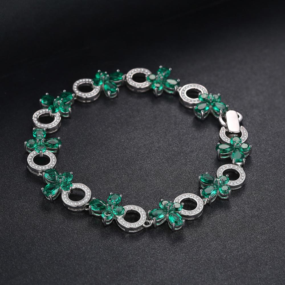 Butterfly Shape 6.8ct Created Emerald Tennis Bracelet For Women - BEAUVAN