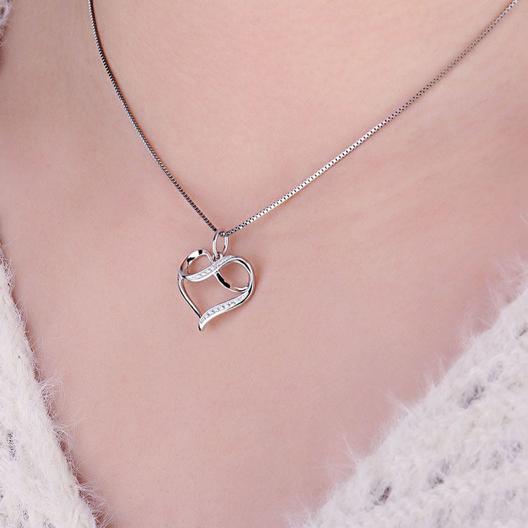 Infinity Love Heart Silver Pendant Necklace 925 Sterling Silver Choker Statement Necklace Women Silver 925 Jewelry WithoutChain - BEAUVAN