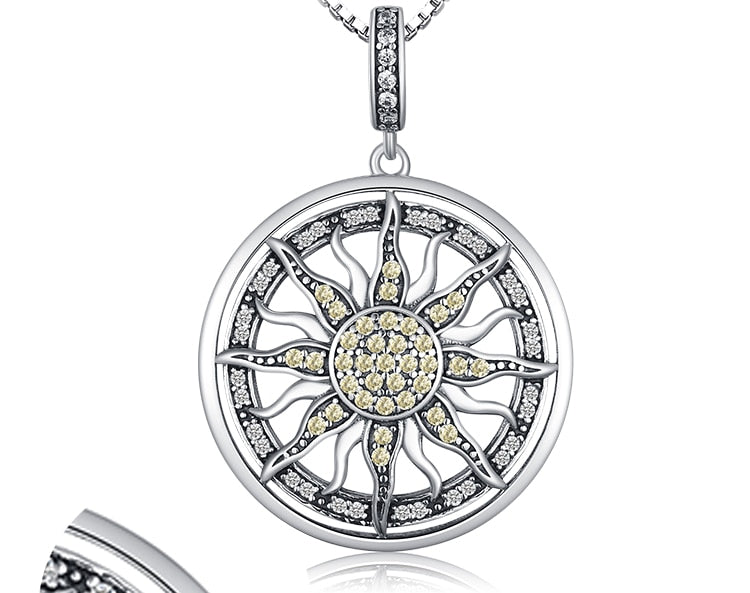 Celestial Sun 925 Sterling Silver Cubic Zirconia Charm Statement Pendant Necklace Women Jewelry Without a Chain - BEAUVAN