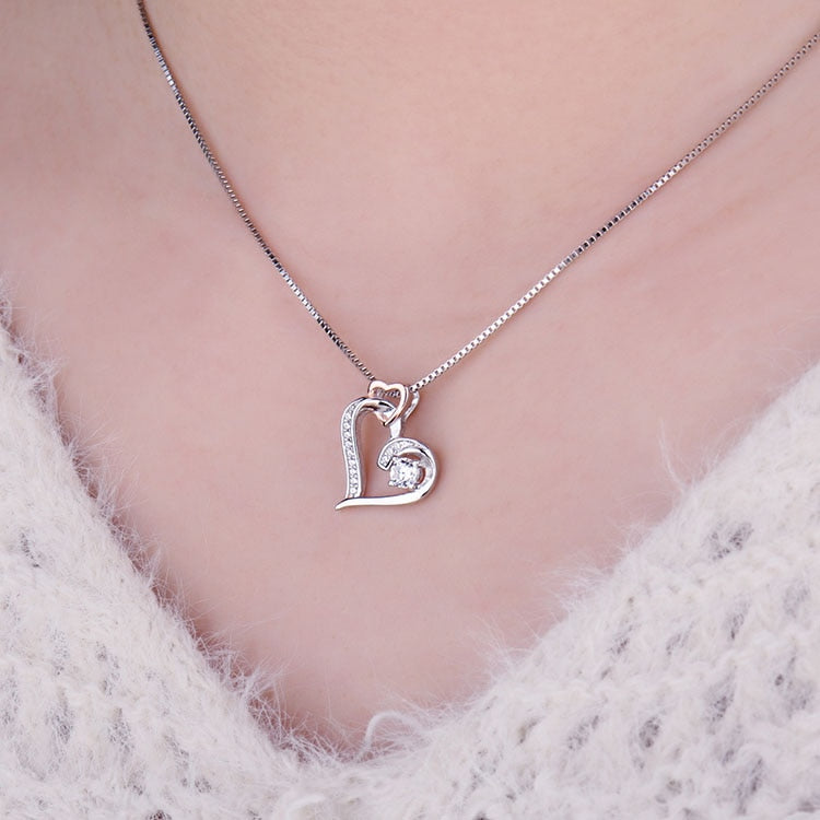 Infinity Heart Pendant Necklace 925 Sterling Silver Choker Statement Necklace Women Silver 925 Jewelry Without Chain - BEAUVAN