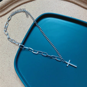 Multilayers Punk Silver Chains Cross Necklace Couple Fashion Street Hip Hop Necklaces for Women - BEAUVAN