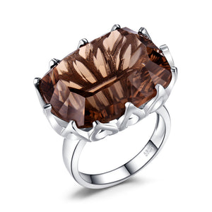 Huge Concave Genuine Smoky Quartz Ring 925 Sterling Silver Rings for Women - BEAUVAN