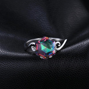 Genuine Rainbow Mystic Topaz Engagement Ring - BEAUVAN