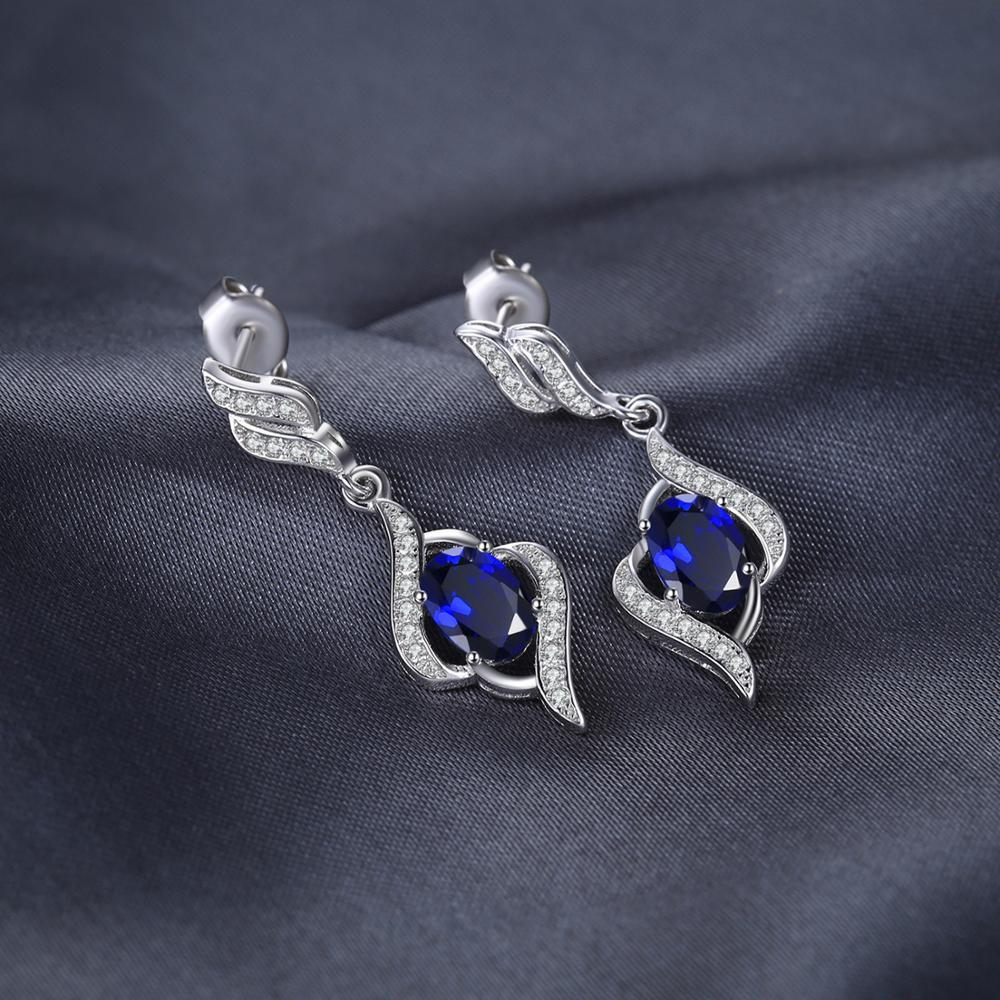 Created Blue Sapphire Drop Earrings 925 Sterling Silver Earrings For Women Gemstones Earings Fashion Jewelry 2020 - BEAUVAN