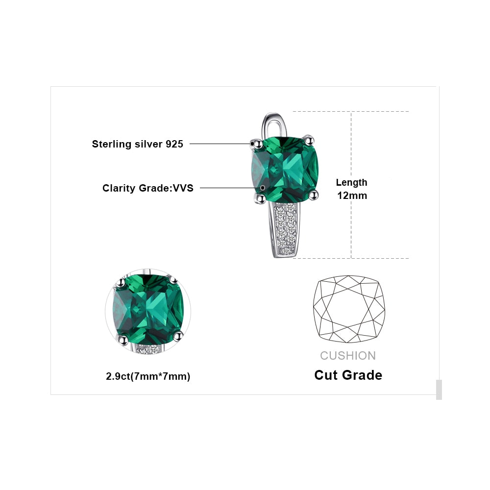Created Nano Emerald Hoop Earrings 925 Sterling Silver Earrings For Women Gemstones Korean Earings Fashion Jewelry - BEAUVAN