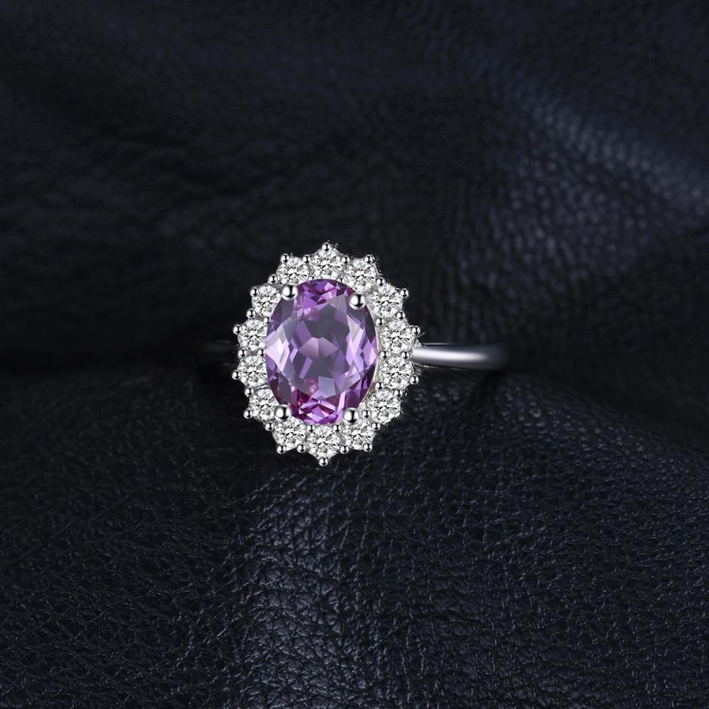 Princess Diana Genuine Amethyst Ring Engagement Ring for Women - BEAUVAN