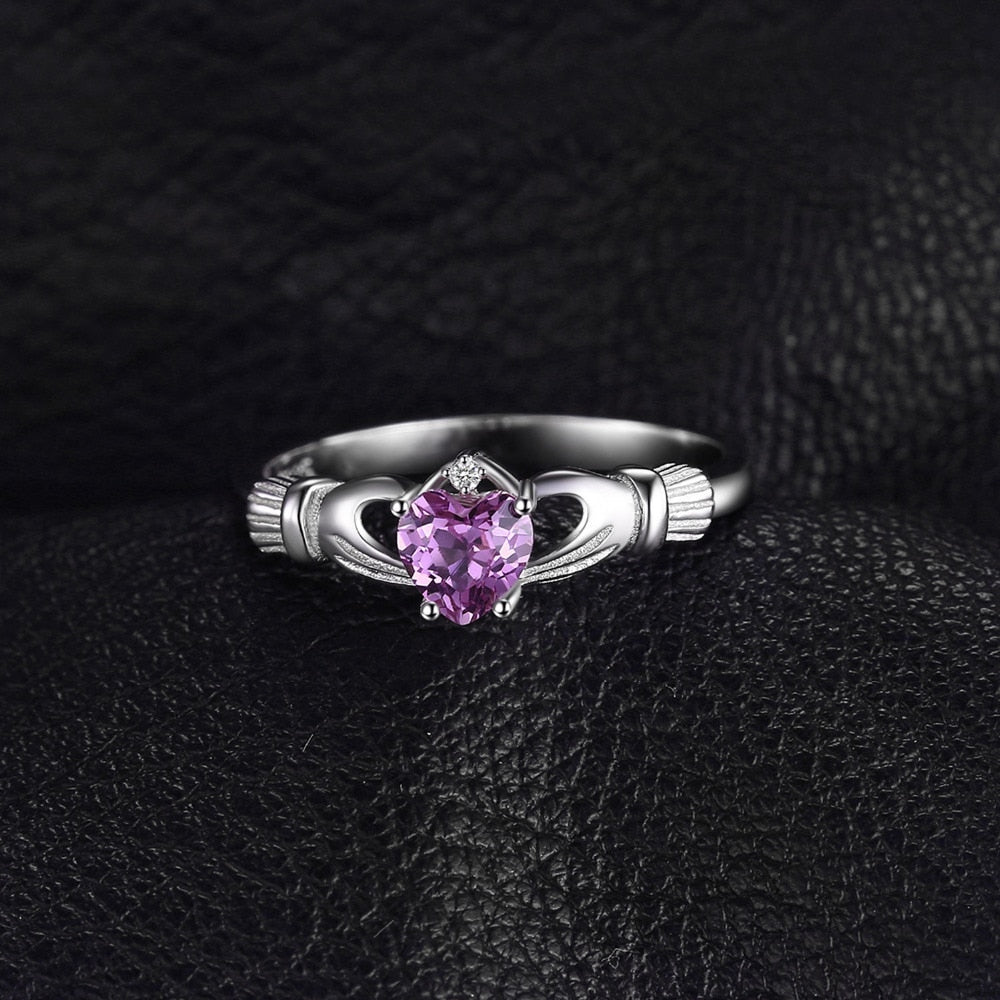 Celtic Claddagh Natural Amethyst Ring Promise Ring for Women - BEAUVAN
