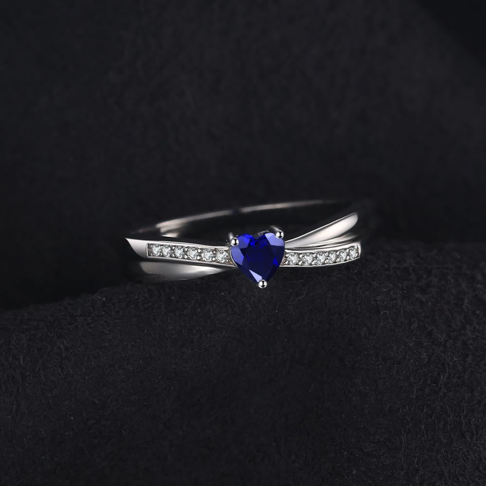 Heart Created Blue Sapphire Ring for Women Promise Engagement Ring Silver - BEAUVAN