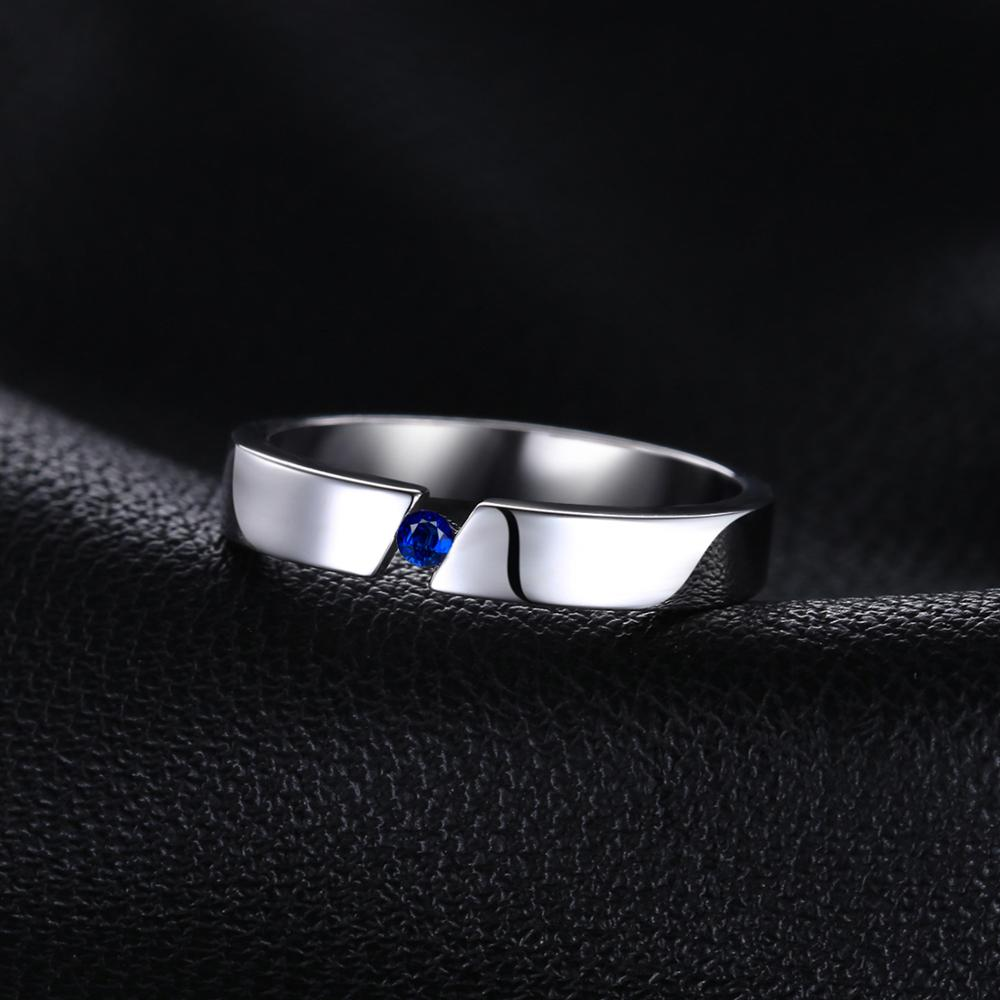 Created Blue Sapphire Ring for Women Wedding Rings Eternity Band - BEAUVAN