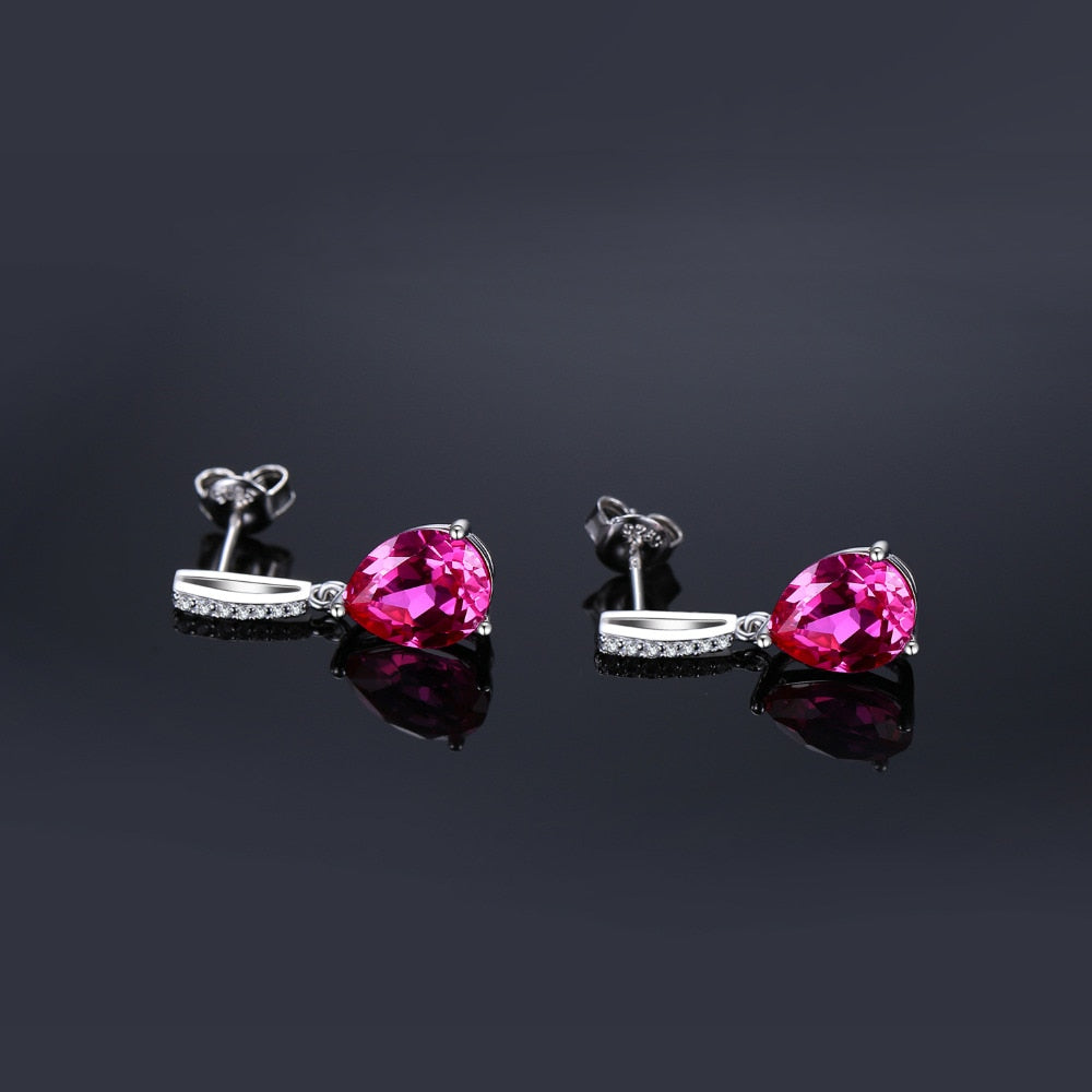 Created Pink Sapphire Drop Earrings 925 Sterling Silver Earrings For Women Gemstone Korean Earrings Fashion Jewelry - BEAUVAN