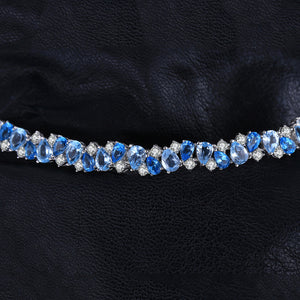 HUGE 23ct Natural London Blue Topaz 925 Sterling Silver Bracelet Tennis - BEAUVAN
