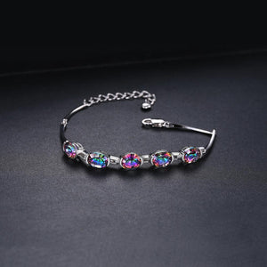Natural Mystic Topaz 925 Sterling Silver Bracelet Tennis Gemstones Bracelets For Women - BEAUVAN
